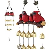 Gardenvy Cardinal Bird Wind Chime, Red Bird Bell Wind Chimes Outdoor Decorations, Garden Backyard Church Hanging Decor, Red