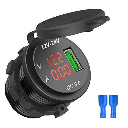 HaiQianXin 12-24 V snellader 3.0 USB-oplader 5 V 3 A LED-display oplader voltmeter voor boot auto motorfiets (kleur: rood)