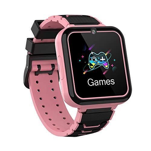 Winnes Reloj Inteligente Niño,Reloj Niño con Llamada,Tarjeta SD de 1GB ,7 Juegos Smart Watch Phone,Música, Cámara, Calculadora, Pantalla Táctil , Regalo de Cumpleaños de 3 a 12 Niños Niñas (Rosa)