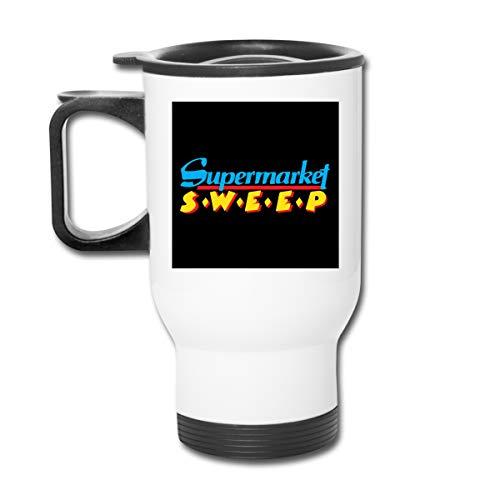 Supermarket - Tazza da caffè a doppia parete con logo Sweep, con tappo a prova di schizzi, per bevande calde e fredde