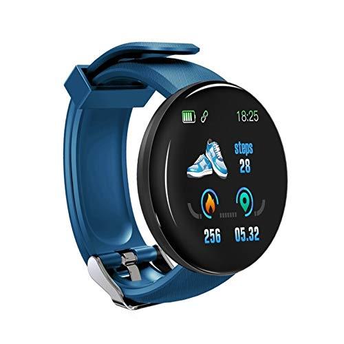 YDL SmartWatch Ronda Hombres Presión Arterial Redonda SmartWatch Mujeres Niños Reloj Inteligente Reloj Impermeable Sport Tracker Smart Watch para Android iOS (Color : Blue)