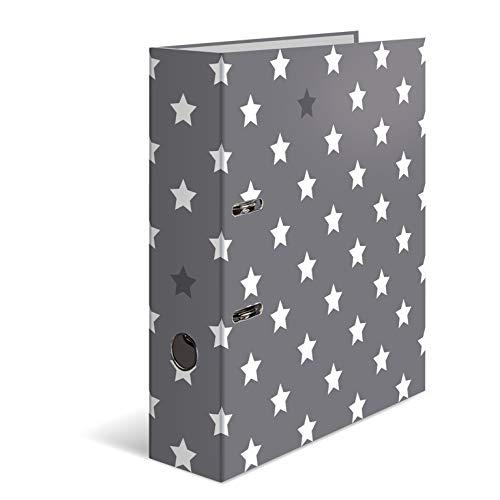 HERMA 7194 Registratore a leva con anelli Stelle con motivo Grigio con stelle bianche, A4, dorso 7 cm, cartonato, colori