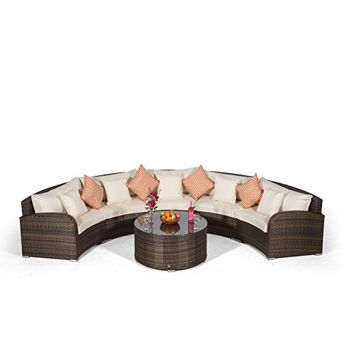 Giardino Riviera 5 Seater Brown Poly Rattan effect Garden Furniture Set with Coffee Table & Outdoor Furniture Covers | 6 piece Curved Rattan Sofa Set | Rattan Patio Conservatory Furniture