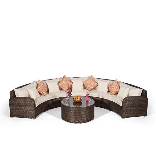 Giardino Riviera 5 Sitzer Rattan Gartenmöbel Set Braun - Halbrundes Sofa, Sofatisch und Abdeckungen - Garten Lounge Möbel Set 6-teilig - Balkon Möbel