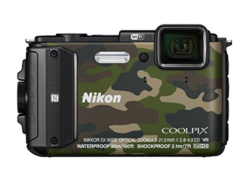 Nikon Coolpix AW130 Digitalkamera (16 Megapixel, 5-Fach Opt. Zoom, 7,6 cm (3 Zoll) OLED-Display, USB 2.0, bildstabilisiert) Camouflage