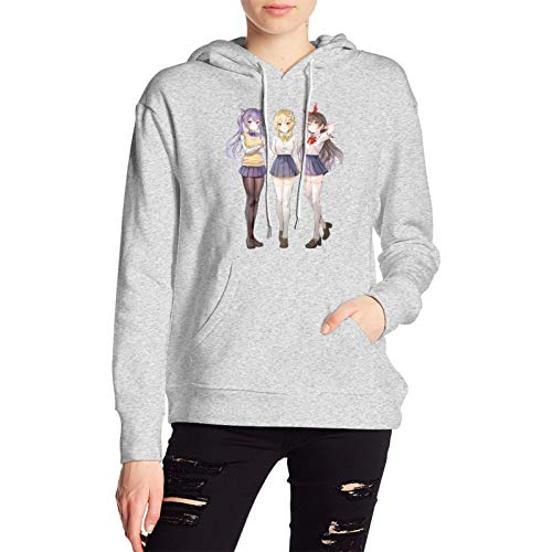 Ge-ns-h-in Hoodie Of Women, Long-Sleeved Sweatshirt, Stylish And Comfortable SAMBEIC Pullover Gray