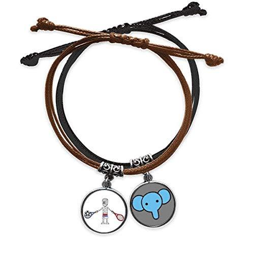Beauty Gift Serbian Tennis Racket Soccer Cartoon Mummy Bracelet Rope Hand Chain Leather Elephant Wristband