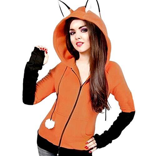 Anime Fox Orelhas Cosplay Hoodie Fleece Jacket halloween Cosplay Sweatshirt Cute Animal Costume Coat Orange