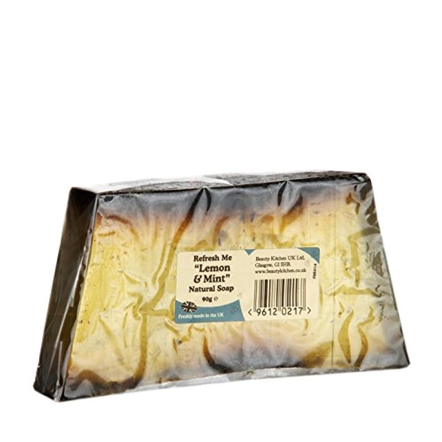 百万動機付ける重くするBeauty Kitchen Refresh Me Lemon & Mint Natural Soap 90g (Pack of 2) - 美しさのキッチンは私にレモン&ミントの天然石鹸90グラムを更新します (x2) [並行輸入品]