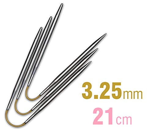 addi Crasy Trio Rundstricknadel 21 cm Stärke 3,25 mm, Metall, Hochglänzend