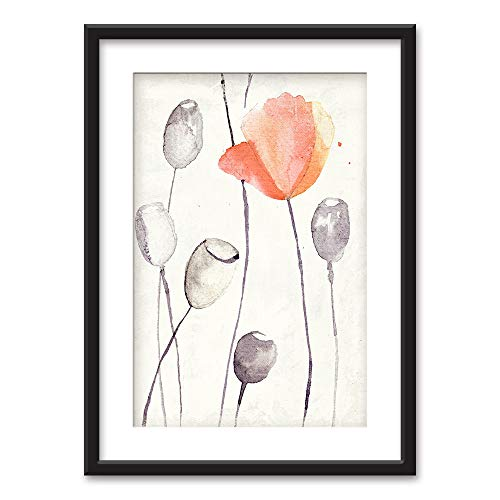 wall26 - Framed Wall Art - Watercolor Style Poppy Pods Flower - Black Picture Frames White Matting - 23x31 inches