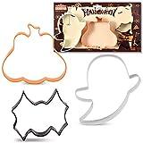 KENIAO Halloween Ausstechformen Set - 3 Stück - Kürbis, Geist und Fledermaus Fondant Keksausstecher - Farb Beschichteter Edelstahl