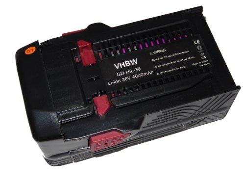 vhbw Li-Ion Akku 4000mAh (36V) für Werkzeuge Hilti TE6A, TE 6A, Hilti TE7A wie Hilti B36, B36V.