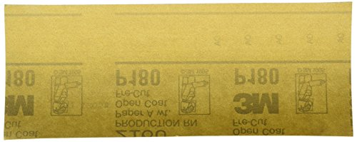 3M Gold Abrasive Sheet, 02553, P180 grade, 3 2/3 in x 9 in, 100 sheets per sleeve