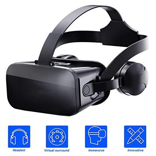 3D Bril, VR Headset, Virtual Reality Box met verstelbare lens en hoofdtelefoon voor 3D VR Movies Video Games, compatibel met 4.5'' - 6'' Smartphones
