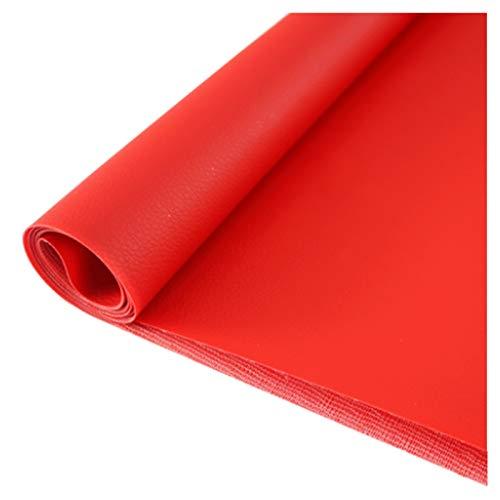 LILAMP Tapicería de Material de Tela de Cuero de PVC de Tela De Cuero Sintético, para Bolso, Billetera, Costura, Artesanía, Reparación, Decoración, Silla de Cuero, Sofá - Rojo(Size:1.38x6m)