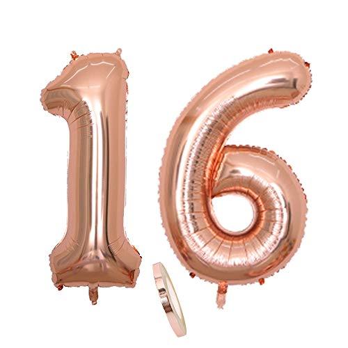 2 Luftballons Zahl 16, Nummer 16 Luftballon Rosegold Mädchen ,40