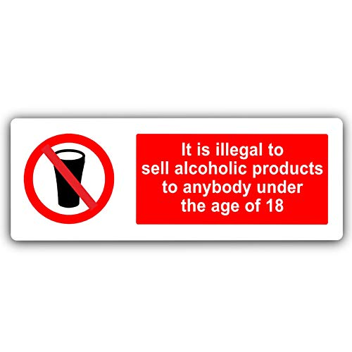 Onwettig om te verkopen Alcoholische producten Sign-MET IMAGE-Aluminium Metaal-Wit-Kennisgeving Office Shop School Cafe Restaurant Pub Business Hotel Premises Drink drank Bier Wijn Cider Alcohol
