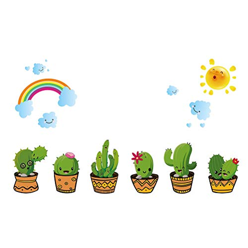 VOSAREA Pegatinas de Pared de Cactus Florero Papel de Pared para la Sala de Estar Decoración de la Cama Calcomanías para el hogar Planta DIY Arte Mural
