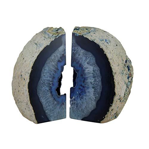 Gran pulido azul geoda Ágata de Brasil sujetalibros 7–11libras