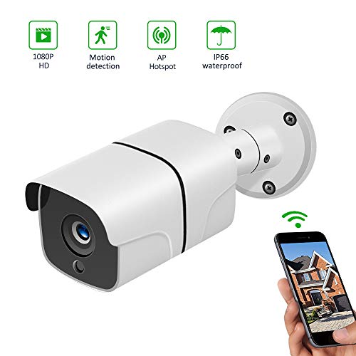 Wheezan 1080P HD Home Security Bullet WiFi Camera,Outdoor IP Camera Surveillance Wireless,WiFi Camera Wireless with Two-Way Audio,Night Vision,Motion Detection Alarm and Cloud Storage