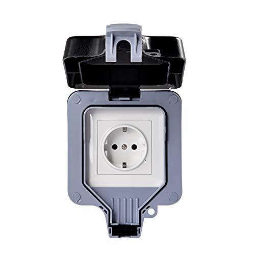 Außensteckdose Eu-Norm Typ-E, F Staubdicht Steckdose Aufputz Ip66 Wetterfest Hochleistungs-2Fach-Schalt Outdoor Steckdose für den Außenbereich Aussensteckdose Wasserdicht (SINGLE(DE))