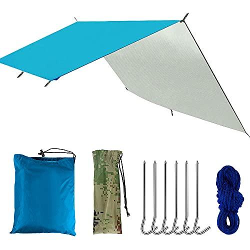 Manfore Zeltplane Wasserdicht, Tarp für Hängematte, Regenschutz Sonnensegel Hängemattenzelt Tarp mit 6 Aluminiumstifte & 6 Nylonseile, Anti-UV, Leichte Tragbare für Ourdoor Camping, Reisen (Blau)