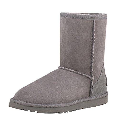 Shenduo Zapatos Invierno Clásicos - Botas de Nieve de Piel Oveja con Lana Interno Impermeable Antideslizante para Mujer D9125 Gris 40
