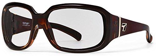 7eye by Panoptx Mistral Frame - Gafas de Sol con Lentes Transparentes, Color marrón