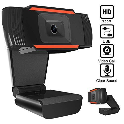LIUSHI Cámara Web HD 720P con micrófono, Plug and Play Giratorio, cámara de computadora USB para PC, computadora portátil Mac, computadora de Escritorio, videoconferencia, grabación de conferencias