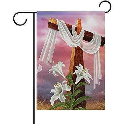 ALLdelete# Garden Flag Ostern-Auferstehungs-Kreuz-Lilien-Polyester-Garten-Flaggen-Haus-Fahne,doppelseitige Willkommens-Yard-Dekorations-Flagge für Hochzeitsfest-Inneneinrichtungen
