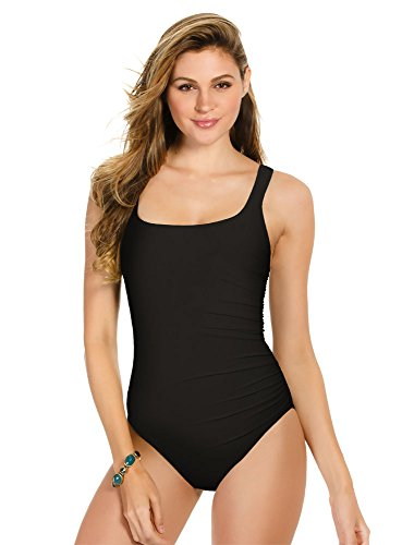 Miraclesuit Women's Swimwear DD-Cup Solid Sideswipe Square Neckline Underwire Bra One Piece Swimsuit, Black, 10DD
