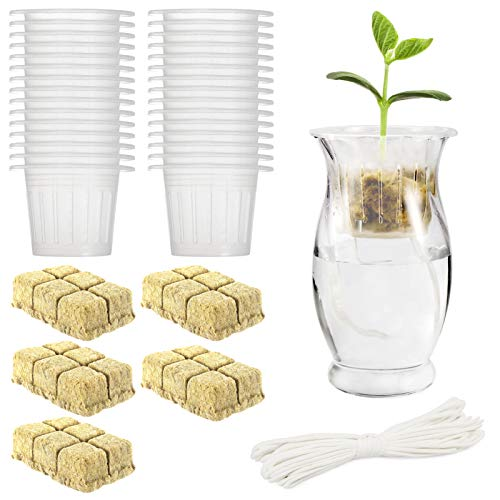 90pcs Hydroponics Kit- 30 Slotted Mesh Net Cups + 30 Rockwool Starter Plugs + 30 Self Watering Wick Cord Hydroponic Growing Kits for Aquaponics Mason Jar Growing Vegetable Flowers