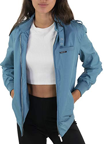 Members Only Women's Classic Iconic Racer Jacket - Slate L