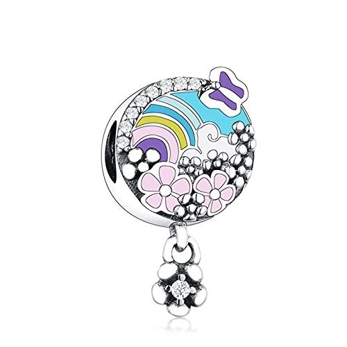 JIAQ Pulsera de Encanto 925 Sterling Silver Rainbow Color Esmalte Cerezo Flowers Prado Beads Haciendo Berloque 2021