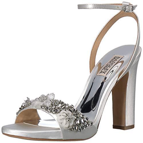 Badgley Mischka Women's Alexa Heeled Sandal, Soft White Satin, 7 M US