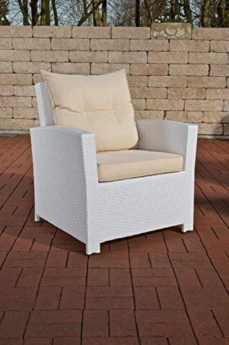 CLP Fauteuil de Jardin en Résine Tressée Fisolo - Chaise de Jardin Poly Rotin Confortable avec Coussin de Siège et de Dossier - Couleur: Blanc, Blanc crème