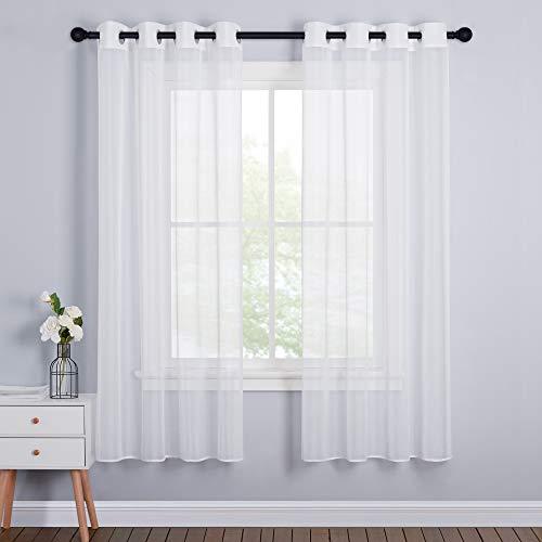 PONY DANCE 2 Stücke Gardinen Weiss Transparent - Voile Vorhang Weiß Fenster Vorhänge für Wohnzimmer Dekoschals Stores Gardinen mit Ösen H 175 x B 140 cm