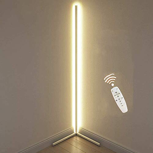 JINGBO Lámpara de Pie Inteligente LED –3000K Blanco Cálido salón diseño Lámpara de Esquina Moderno 142 cm 20W con Interruptor de pie/Control Remoto para Dormitorio, salón, Oficina,Blanco