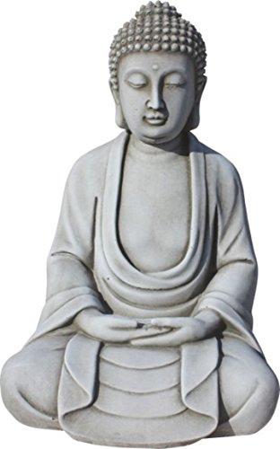 AnaParra Figura Buda Tranquilidad para el jardín Decorativa 32cm. hormigón Natural Musgo
