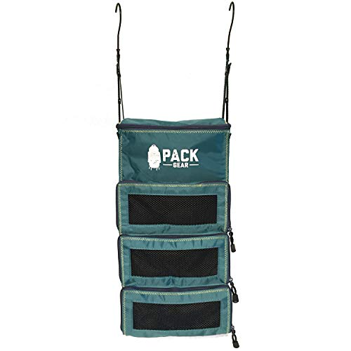 Hanging Backpack Organizer and Carry-On Organizer (Navy Blue and Black) - Built In Hooks For Convenient Hanging – Holds More Than 4 Packing Cubes – Durable – Only 9oz - Designed In USA By PACK Gear. (Teal)