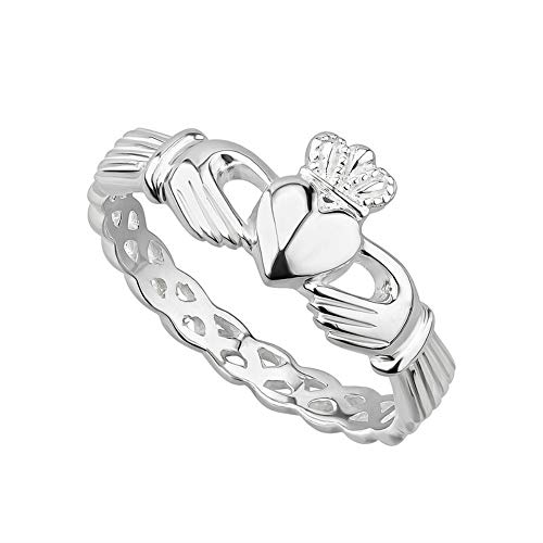 Claddagh Ring Sterling Silver Made in Ireland Twist On the Traditional Claddagh With a Braided Band Made By the Artisans At Solvar in Co. Dublin Size 8