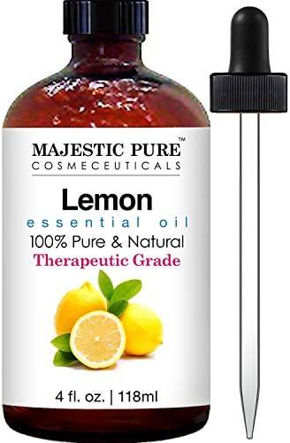 Majestic Pure Lemon Oil, Therapeutic Grade, Premium Quality Lemon Oil, 4 Ounces