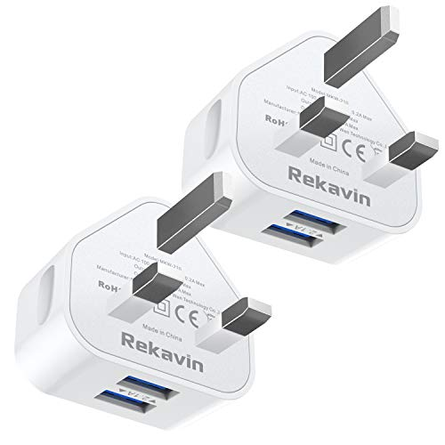 Rekavin USB Plug Charger [2 Pack], Dual USB Plug Adapter UK Wall Mains Charge 2Port with Smart IC Fast Charging Technology for iPhone 11 XS Max XR X 8 7 6 SE,iPad Pro 2018,Samsung,Huawei,Android ect