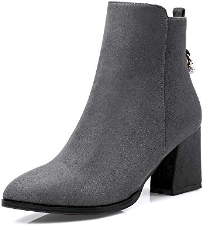 HOESCZS 2019 Frauen Stiefeletten Fashion Square High Heel Spitz Frauen Schuhe Reiverschluss Design Frauen Stiefel Gre 34-43