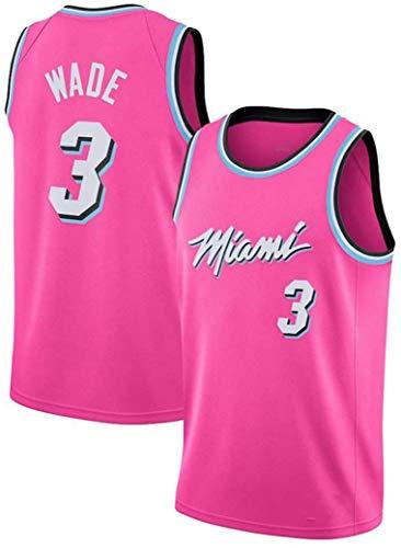 NNBBAA Hombres NBA Jersey Miami Heat # 3 Wade Basketball Jersey Chalecos Bordados Tops Camisetas de Baloncesto sin Mangas