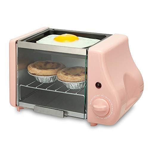 lonelymen Mini Four électrique, Mini Four avec Plaque de Cuisson et Grill, Machine à Petit-déjeuner multifonctionnelle Maison Deux-en-Un dortoir étudiant Petit Mini Four à Frire,Pink