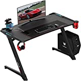 VIT 47 Inch Ergonomic Gaming Desk with RGB Led Lights, Z Shaped Office PC Computer Desk with Large Mouse Pad, Gamer Tables Pro with USB Gaming Handle Rack, Stand Cup Holder and Headphone Hook