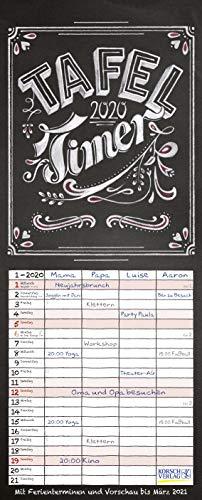 Tafel Timer 2020: Typo Art Familienkalender mit 4 breiten Spalten in Tafeloptik. Hochwertiger Familienplaner mit Ferienterminen, Vorschau bis März 2021.