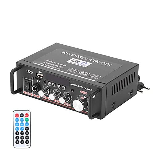 Akozon Amplificador de Potencia estéreo inalámbrico Bluetooth Amplificador de Potencia de 2 Canales USB Digital Inteligente con Mando a Distancia Enchufe de la UE 220 V